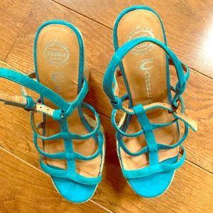 Jeffrey Campbell Turquoise suede platform heels